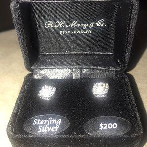 Sterling silver diamond  stud earrings NWT